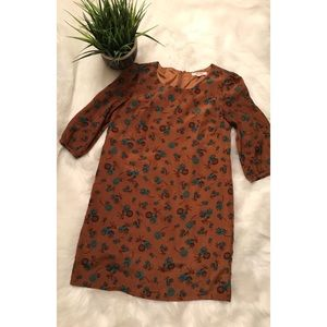 Forever 21 Brown & Blue Floral Dress size Small